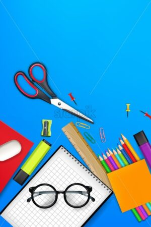 Back to school card supplies Vector realistic. Crayons, ruler, notes detailed 3d illustration - starpik