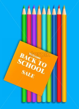 Back to school colorful crayons Vector realistic. Blue background. 3d detailed illustration - starpik