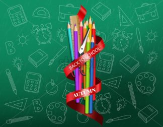 Back to school colorful ucrayons supplies Vector realistic. sale promotion banner. detailed 3d illustration - starpik