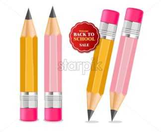 Back to school crayons supplies Vector realistic. sale promotion banner. detailed 3d illustration - starpik