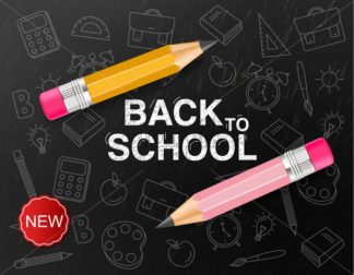 Back to school creative Vector realistic. Crayon painted chalk board fantasy poster. Sale promotion banner - starpik