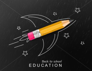Back to school creative Vector realistic. Crayon rocket painted fantasy poster. Sale promotion banner - starpik