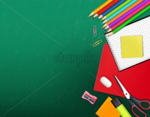Back to school creative Vector realistic. School supplies painted chalk board fantasy poster. Sale promotion banner - starpik