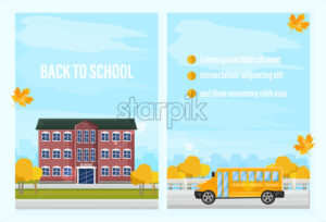 Back to school fall Vector template. Autumn school facade and school bus. flat style trendy colors brochure poster - starpik