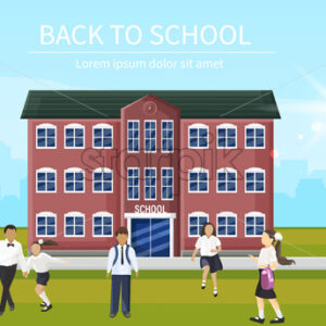 Back to school kids running the entrance Vector. Playing happy children flat style outdoors - starpik