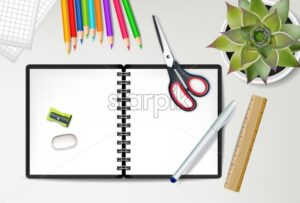 Back to school notebook Vector. Sale promotion banner. School supplies on wooden texture top view - starpik