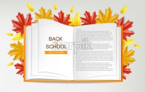 Back to school open book vector realistic. 3d detailed illustration - starpik