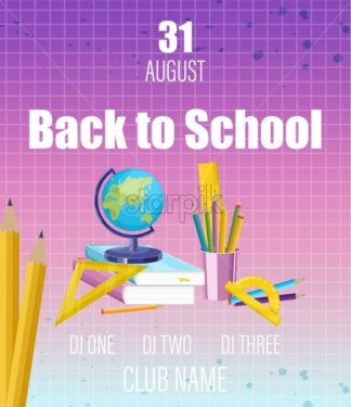 Back to school poster Vector flat style. School supplies sale promotion template. Fall autumn sale advertise banner - starpik