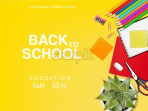 Back to school poster Vector. Autumn fall sale promotion banner. School supplies top view - starpik