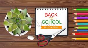 Back to school poster Vector. Sale promotion banner. School supplies on wooden texture top view - starpik