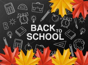 Back to school sale poster Vector. Autumn fall promotion banner. Atumn leaves and chalk supplies template - starpik