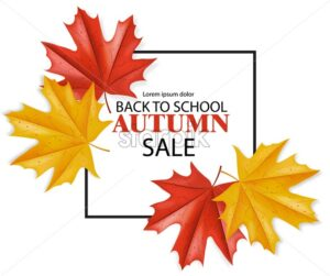Back to school sale poster Vector. fall promotion banner. Atumn leaves template - starpik