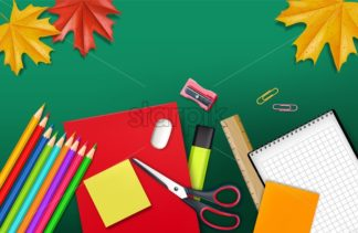 Back to school supplies Vector realistic. Crayons, ruler, notes detailed 3d illustration - starpik