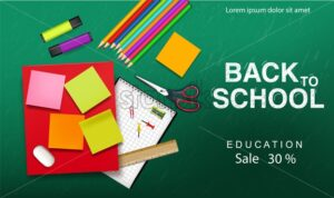Back to school supplies Vector realistic. Crayons, ruler, notes. Promotion sale banner detailed 3d illustration - starpik
