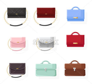 Bags set vector flat style. Colorful collection classic style stylish accesories illustration - starpik