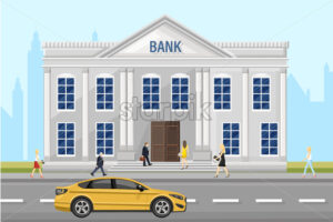 Bank architecture facade Vector. People walking around the street. Flat style illustration - starpik