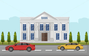 Bank street view Vector. Cars outdoors Flat style illustration - starpik