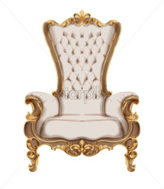 Baroque furniture Vector watercolor. Luxurious ornaments French Luxury rich intricate structure. Victorian Royal Style decor - starpik