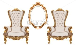 Baroque furniture set Vector watercolor. Luxurious ornaments French Luxury rich intricate structure. Victorian Royal Style decor - starpik