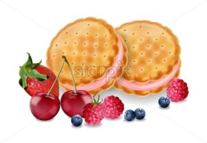 Berry cream cookies Vector realistic. Product placement mock up. Sweet dessert cream splash design. 3d illustration - starpik