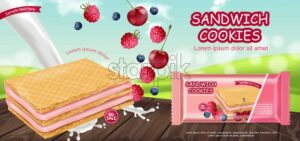 Berry cream waffles cookies Vector realistic. Product placement mock up. Sweet dessert cream splash label design. 3d illustration - starpik
