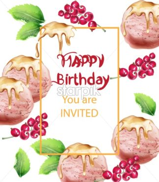 Birthday card with ice cream Vector watercolor. Sweet invitation party. Delicious banner - starpik