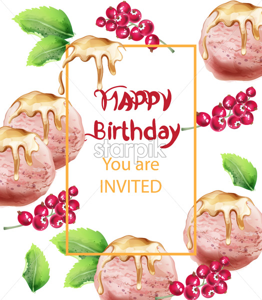Wondrous Birthday Card With Ice Cream Vector Watercolor Sweet Invitation Funny Birthday Cards Online Fluifree Goldxyz