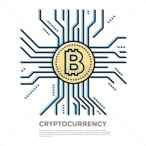 Bitcoin crypto currency blockchain thin line color background icons isolated vector illustration - starpik