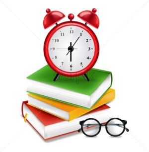 Books and alarm clock Vector realistic. Back to school poster. Sale promotion banner. School concept note - starpik
