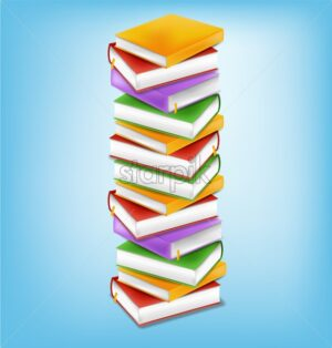 Books stack vector realistic. Colorful books illustration. Back to school study concept - starpik