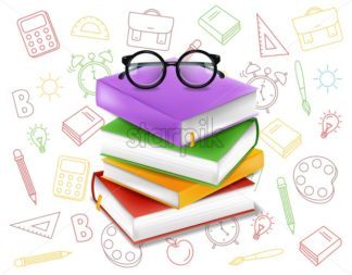 Books stack vector realistic. Glasses and colorful books illustration. Back to school study concept - starpik