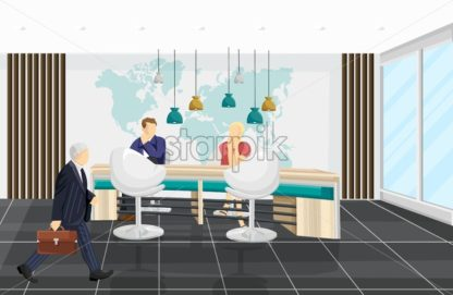 Business center Vector background. People discussing projects. Call center, bank or technology hub flat style - starpik