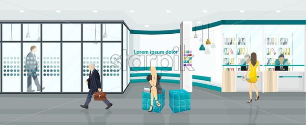Business center Vector background. People walking or discussing projects. Call center, bank or technology hub flat style - starpik