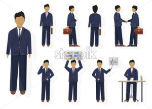 Business man character design set Vector. Woman with various views, poses and gestures. flat style isolated - starpik