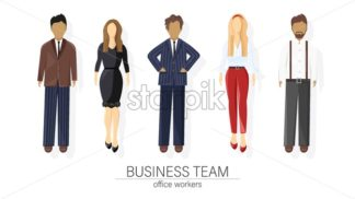 Business team set people Vector flat style. Man and woman business team template icon isolated - starpik