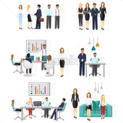 Business team set. People working Vector flat style. Creative team conference meeting illustration - starpik