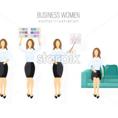 Business woman character design set Vector. Woman holding a banner. Different poses. flat style isolated - starpik