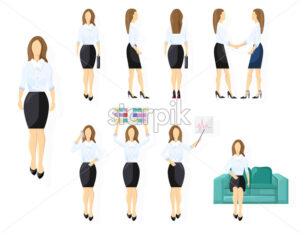 Business woman character design set Vector. Woman with various views, poses and gestures. flat style isolated - starpik
