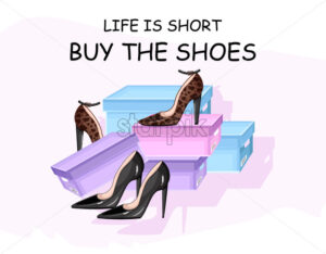 Buy shoes vector poster advertise. Shoe sale brochure template - starpik