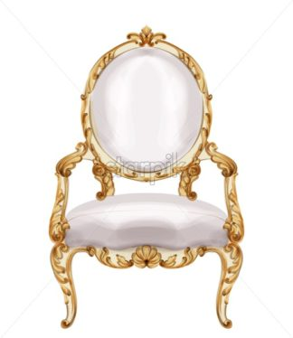 Chair gold ornamented Vector watercolor. Baroque rich wooden carves decor. Victorian luxury furniture. Painted style - starpik