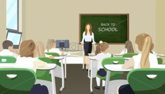 Children in the classroom listenning to the lesson Vector flat style - starpik