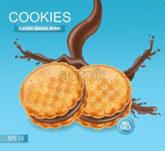 Chocolate cookies package Vector realistic. Product placement mock up. Sweet dessert chocolate splash design. 3d illustration - starpik