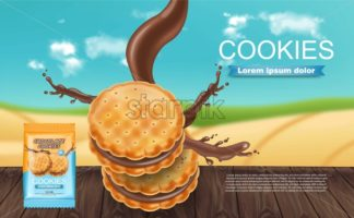 Chocolate cream cookies Vector realistic. Product placement mock up. Sweet dessert chocolate splash design. 3d illustration - starpik
