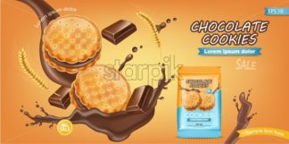 Chocolate cream cookies Vector realistic. Product placement mock up. Sweet dessert chocolate splash label design. 3d illustration - starpik