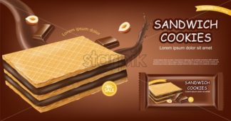 Chocolate waffles cookies Vector realistic. Product placement mock up. Sweet dessert chocolate splash label design. 3d illustration - starpik