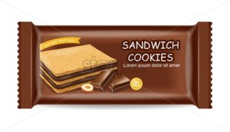 Chocolate waffles cookies package Vector realistic. Product placement mock up. Sweet dessert chocolate splash label design. 3d illustration - starpik
