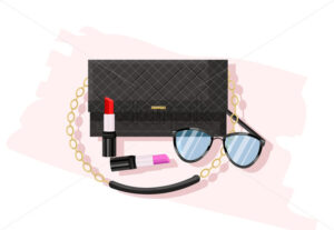 Classic black bag vector flat style. Women essential cosmetics and accesories brochure poster icon template - starpik