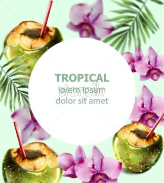 Coconut cocktail tropic card vector. Colorful orchid flowers and coconut drink summer hot exotic poster - starpik