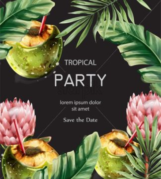 Coconut cocktail tropic card vector. Hot Summer exotic poster coconut drink watercolor style - starpik