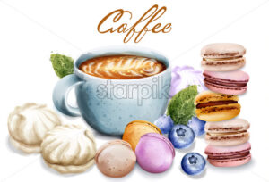 Coffee cup with sweets Vector watercolor. Macaroons and meringues. Breakfast desserts. Vintage style illustration - starpik